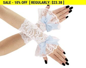 White gloves, fingerless gloves, lace gloves, wrist warmers, wedding gloves, bridal gloves, women gloves, short gloves, blue gloves, 01tP