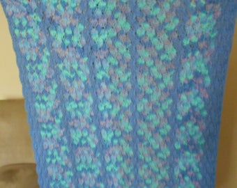 """Crochet Lap Afghan, Blue, Green and Lavender, 45"""" x 32"""", Chair Throw, Baby Afghan - READY TO SHIP"""
