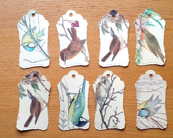 Bird Gift Tags - 8 Bird Gift Tags - Bird Birthday gift Tags-  Bird Theme Tags - Bird Spotter Tags