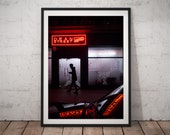 Soho art, London poster, street photography, London city at night, London print, neon lights artwork, London art, London wall art, London