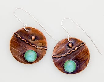Copper and Fused Dichroic Glass Earrings