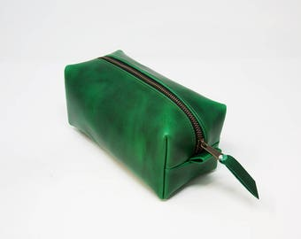 Leather Dopp Kit, Men's Natural Leather Travel Kit, Toiletry Bag, Horween Leather Travel Case