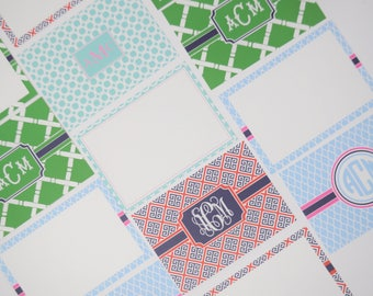 Monogrammed/Personalized Flat Notecards