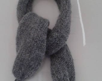 Pure hand knitted grey Alpaca scarf