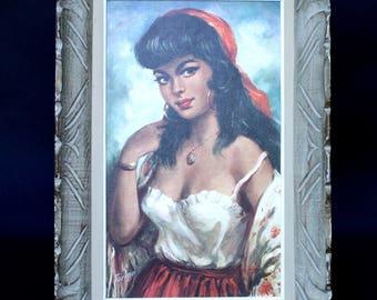"""Vintage Retro Mid Century Print """"Gypsy Girl"""""""