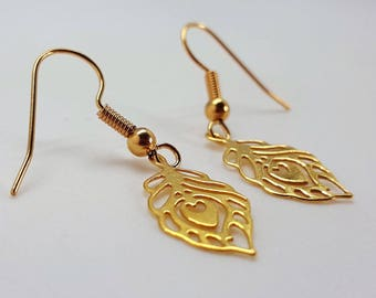 Earrings plated gold, peacock feathers