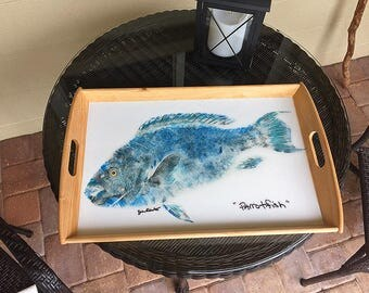 Original Gyotaku Parrotfish Serving Tray