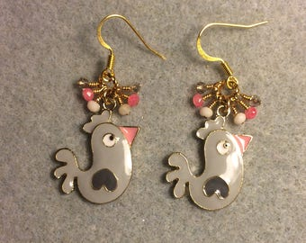 Grey, white, and pink enamel chicken charm earrings adorned with tiny dangling grey, white, and pink Chinese crystal beads.
