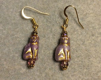 Small purple Czech glass cat bead dangle earrings adorned with purple Chinese crystal beads.