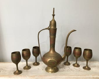 Moroccan Brass Etched Teapot and Goblets