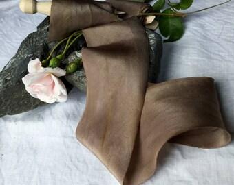 CARAMEL COFFEE Plant-dyed silk ribbon / styling ribbon / floral arrangements / naturally dyed / hand dyed / habotai ribbon / wedding ribbon
