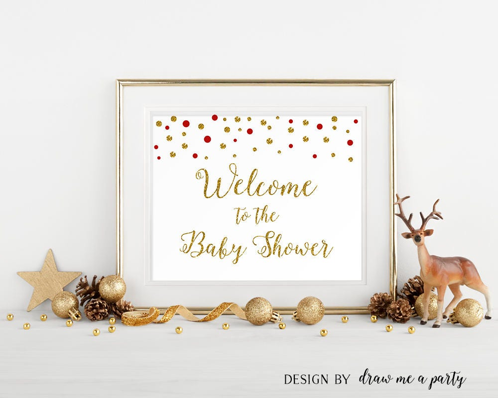 Red And Gold Baby Shower Decorations, Red And Gold Baby Shower Printable  Welcome Sign,