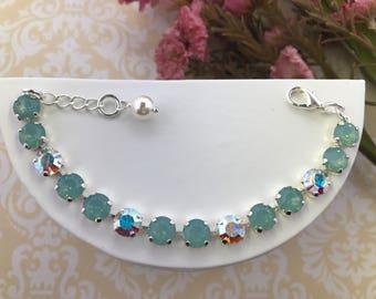 Swarovski Pacific Opal and AB Bracelet, 8mm Swarovski chatons, Opal Bracelet, Tennis Bracelet, Wedding Bracelet, Pacific Opal Crystal