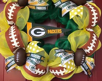Green Bay Packers Wreath, NFL Wreath, Deco Mesh Wreath, Packers Decor, Packers Wreath, football ribbon, any team.