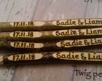 Wedding Guest Book Pen, Twig Pen Wedding Favours, Personalised Free. UK. Rustic, Ethical, Recycled.