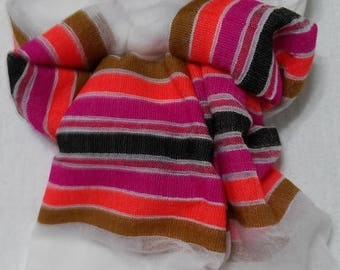 SUMMER BLOWOUT SALE...thru 07/15/17!...Women's 100% Handwoven Ethiopian Snow White Cotton Scarf with Multicolored Stripes