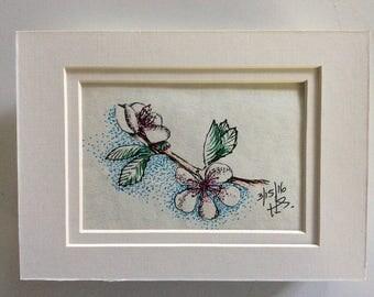 Cherry Blossoms: original ballpoint art