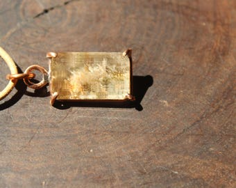 lodolite quartz pendant with recycled copper - pendant necklace