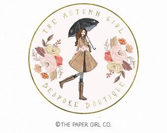 umbrella logo girl logo fall logo watercolor logo boutique logo photography logo event planner logo rain boots logo gold foil logo watermark