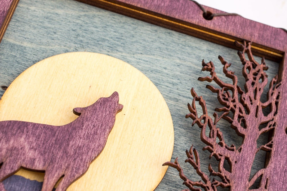 Purple Wolf - Art On Wood - Mountain Wall Art - Wolf Wall Decor ...