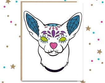 Sugar Skull, Sugar Skull Card, Day Of the Dead, Dia de los Muertos, Sympathy Card, Pet Death Gift, Halloween Card, Birthday Card