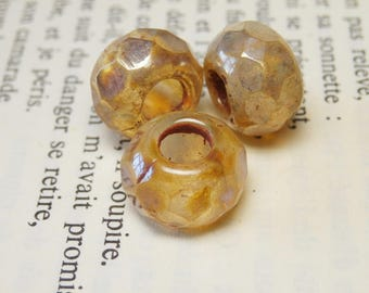 4 large beads 8X12mm big hole 5mm faceted amber RL1 picasso finish