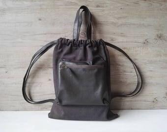 Modern backpack, woman backpack, soft leather bag, gray summer backpack, casual backpack