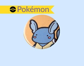 Wartortle Badge - Pokemon pin, Wartortle button, Wartortle pin, Pokemon badge, Pokemon button, cute Wartortle, kawaii Wartortle
