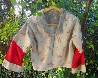 bolero in angora wool and linen jacket