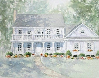 Custom Watercolor Home w/16 x 20 mat, House Portraits from Photo, Personalized gift for grandparents parents