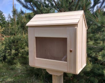 Unfinished little free library. Lending library. Mini library. Book house. Book box. Neighborhood library. Book exchange
