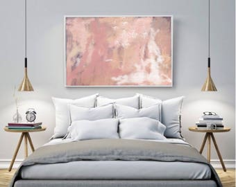 "ABSTRACT ART PRINT, original painting, peach giclee print, bedroom art, home decor ~ ""Bloom"""