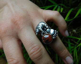 CAROL FELLEY ring sterling silver bear grizzly with beautiful mahogany obsidion stone size 6.75 rare 1997 Southwest