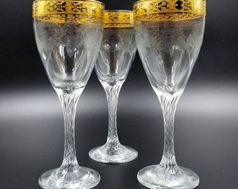 Mid Century Embossed Glass Gold Band Wine Glasses
