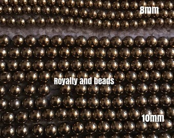 Hematite gold beads
