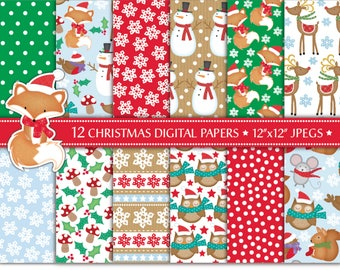 Christmas Digital Papers,Christmas Scrapbook Papers,Reindeer Papers,Holiday Papers,Snowman,Fox,Scrapbooking,Christmas Backgrounds,Commercial