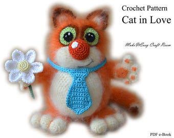 Crochet cat amigurumi pattern Fat orange cat Crochet kitty cat pattern Cat with flower figurine Cat lovers crochet gift Digital download
