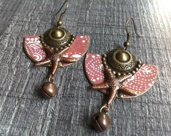 Ethnic earrings bronzes, bronze scrapbooking ethnic brown tones and Bell