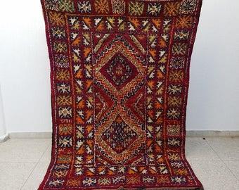 Beautiful Colorful Vintage Moroccan Handmade Berber Rug 9' x 5'5 (Beni Ourain)