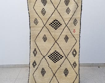 Authentic High Quality Azilal Moroccan Berber rug Wool 8'7 x 3'4 Beni Ourain