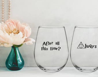 Harry Potter,wine glasses,After All This Time,Always,Bride and Groom,harry potter wine,Harry potter wine glass