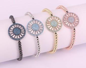 New Arrival Round Charm Bracelets Adjustable Braiding Macrame CZ Crystal Charm Bracelet Jewelry