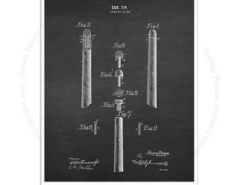 Billiards Cue Decor art print #6 Billiard Cue Tip design invented in 1899 with chalkboard background, Pool Room Decor, Billiard gift for him