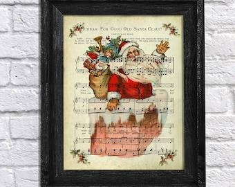 Christmas Decor - Vintage Santa Claus Song Sheet Music - Christmas wall art - Vintage Christmas Art - Santa Song#1