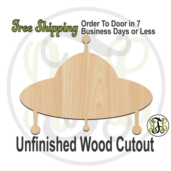 UFO - 300052- Space Ship Cutout, unfinished, wood cutout, wood craft, laser cut shape, wood cut out, Door Hanger, Spaceship, wooden, Alien