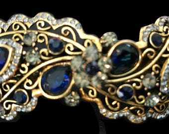 New Art Deco Sapphire Blue and Smoke Rhinestone Antique Gold  Metal 4'' Hair Barrette Lever Back