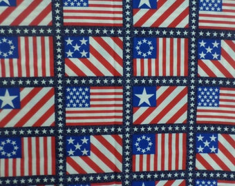 """United States American Flag Fabric red white and blue vintage and out of print and you get alot of flags and each flag is 3 1/2 by 2 1/2 """""""
