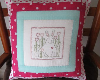 Hand embroidered rabbit cushion cover