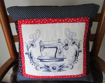 Handmade  embroidered sewing machine cushion cover