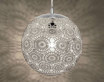 "Liz Crochet Lamp 10"" ø - white"